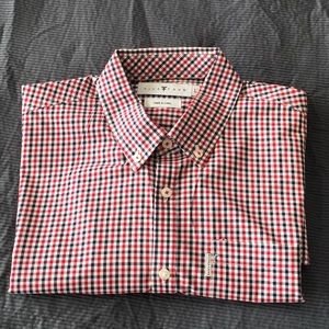 Red and navy blue Gingham button down